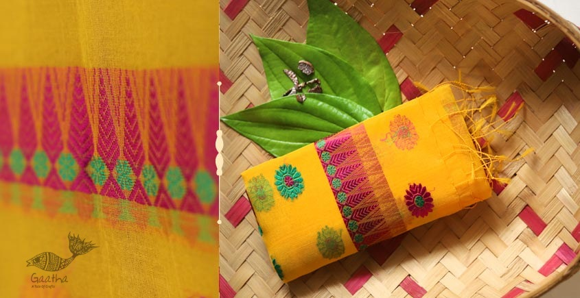 Handwoven Kesa-Pat Silk Stole  - yellow color