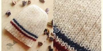 Hand Knitted ☃ Pure Woolen Cap ☃ Natural Color |  Ecru with Blue & Red |