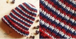 Hand Knitted ☃ Pure Woolen Cap ☃ Natural Color |  Indigo-Red-Ecru Multi Stripes |
