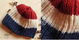 Hand Knitted ☃ Pure Woolen Cap ☃ Natural Color |  Red-Ecru-Indigo Rugby Stripes |