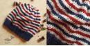 Hand Knitted ☃ Pure Woolen Cap ☃ Natural Color    Indigo-Ecru Multi Stripe  