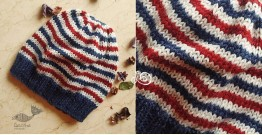 Hand Knitted ☃ Pure Woolen Cap ☃ Natural Color |  Indigo-Ecru Multi Stripe |