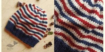 Hand Knitted ☃ Pure Woolen Cap ☃ Natural Color |  Indigo-Ecru Multi Stripe |