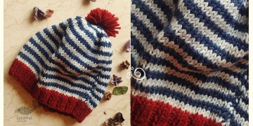 Hand Knitted ☃ Pure Woolen Cap ☃ Natural Color |  Indigo-Ecru Multi Stripe With Red |