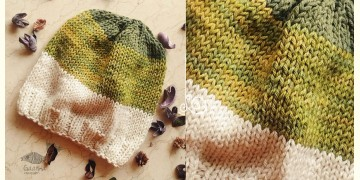 Hand Knitted ☃ Pure Woolen Cap ☃ Natural Color |  Green-Moss-Ecru  |