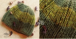 Hand Knitted ☃ Pure Woolen Cap ☃ Natural Color |  Green-Moss |