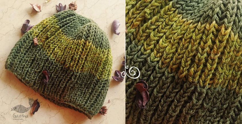 green wool and Hand Knitted Woolen Cap