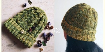 Hand Knitted ☃ Pure Woolen Cap ☃ Natural Color |  Moss Green |