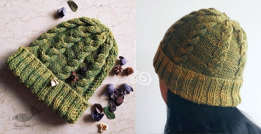Moss Green color handmade  Cap for winter