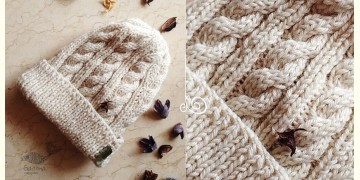 Hand Knitted ☃ Pure Woolen Cap ☃ Natural Color |  Ecru |