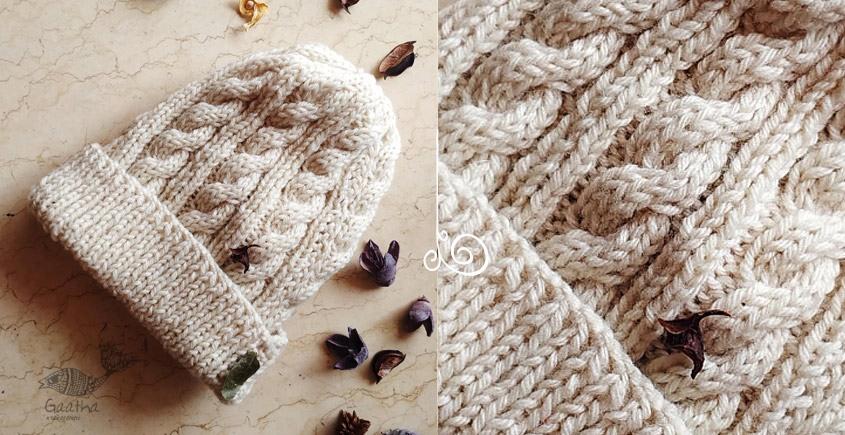 Hand Knitted ☃ Pure Woolen Cap ☃ Natural Color |  Ecru |