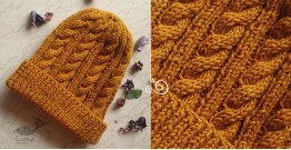 Hand Knitted ☃ Pure Woolen Cap ☃ Natural Color |  Turmeric |