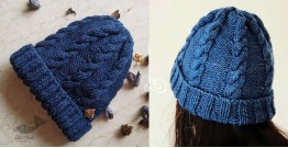 Hand Knitted ☃ Pure Woolen Cap ☃ Natural Color |  Indigo |