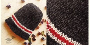 Hand Knitted ☃ Pure Woolen Cap ☃ Natural Color |  Black With Red & White Stripe |