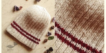 Hand Knitted ☃ Pure Woolen Cap ☃ Natural Color |  Ecru with Red Stripe |