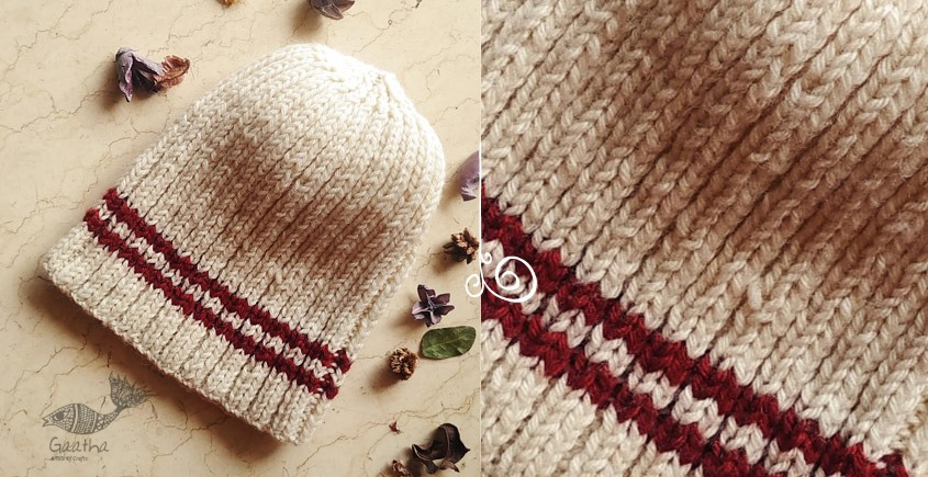 Red Stripe Natural color Woolen Cap buy online