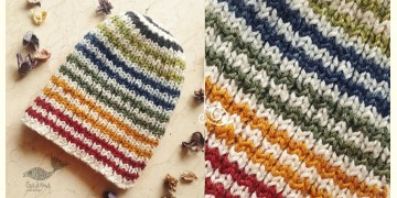 Hand Knitted ☃ Pure Woolen Cap ☃ Natural Color |  Ecru With Multi Color Stripes |