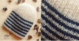 Hand Knitted ☃ Pure Woolen Cap ☃ Natural Color |  Ecru With Blue Stripes |