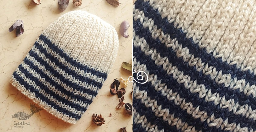 Blue Stripes a stylish Knitted Woolen Cap