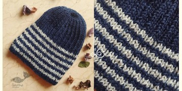 Hand Knitted ☃ Pure Woolen Cap ☃ Natural Color |  Indigo With White Stripes |