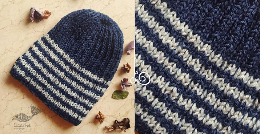 beautiful Indigo With White Stripes knitted cap