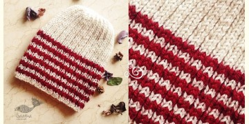 Hand Knitted ☃ Pure Woolen Cap ☃ Natural Color |  White With Red Stripes |