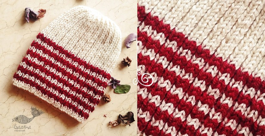 Hand Knitted Woolen White With Red Stripes Cap