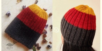 Hand Knitted ☃ Pure Woolen Cap ☃ Natural Color |  Yellow-Red-Black Rugby Stripe |