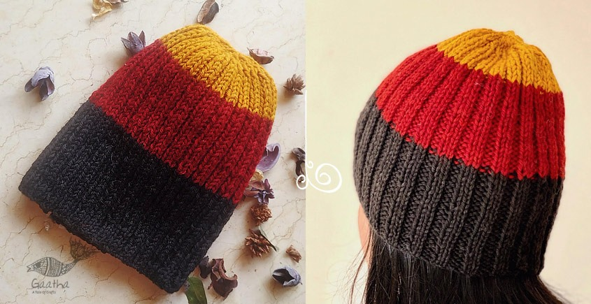 Hand Knitted Yellow-Red-Black Rugby Stripe Woolen Cap