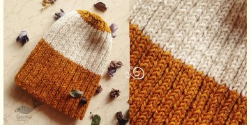 Hand Knitted ☃ Pure Woolen Cap ☃ Natural Color |  Yellow & White Rugby Stripe |