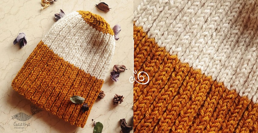 Natural Color woolen cap Yellow & White Rugby Stripe