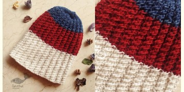 Hand Knitted ☃ Pure Woolen Cap ☃ Natural Color |  Indigo-Re-Ecru Stripes |