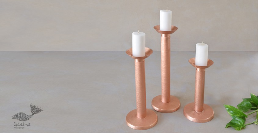 ताम्र ✤ 3 ✤ MEGALITH CANDLE STAND SMALL { Single Piece }