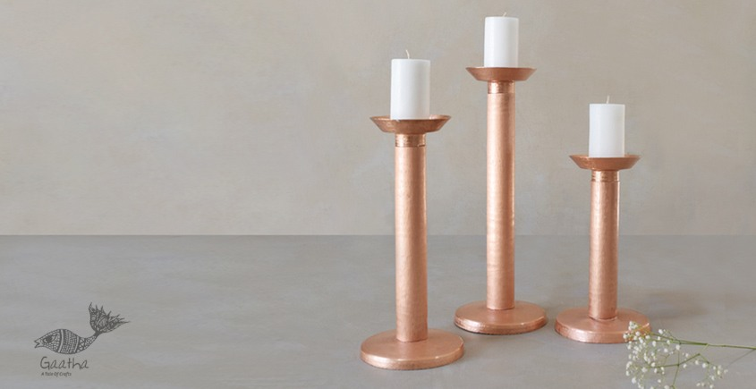 ताम्र ✤ 5 ✤ MEGALITH CANDLE STAND LARGE { Single Piece }
