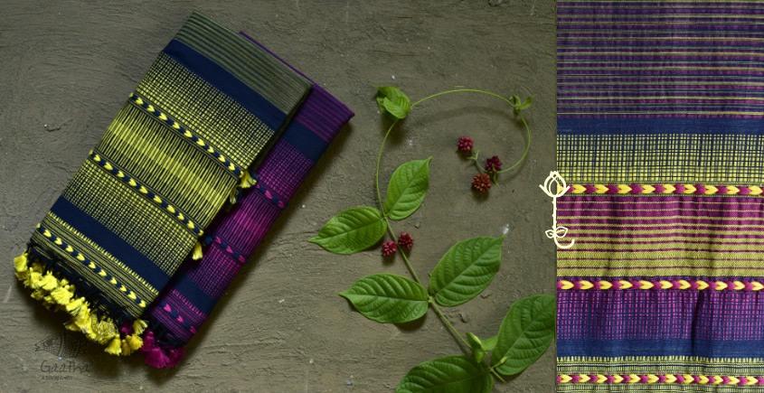 Handwoven kala cotton bhujodi weaving stoles from kutch