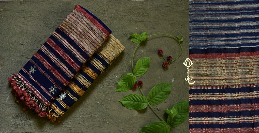 Handwoven Cotton & tussar silk bhujodi weaving stoles from kutch