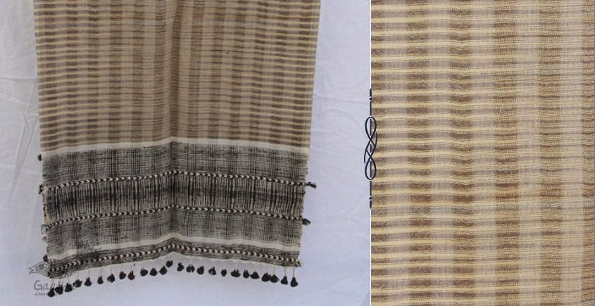 buy natural color woolen stole from Kutch