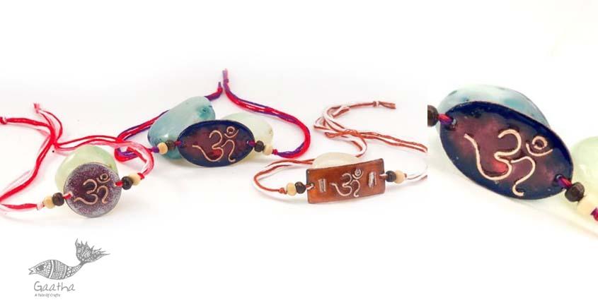 shop Copper Enamel handmade rakhi - Om-oval / Rectangular