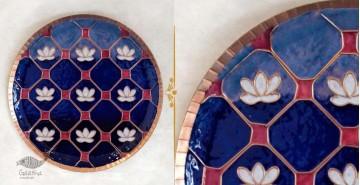 "Ekibeki ❋ Copper Enamel Wall Plate Blue Lotus Jali (Options - S(8""), M(10""), L(12"") ) ❋ 9"