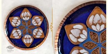 "Ekibeki ❋ Copper Enamel Wall Plate Blue Lotus Petal (Options - S(8""), M(10""), L(12"") ) ❋ 11"
