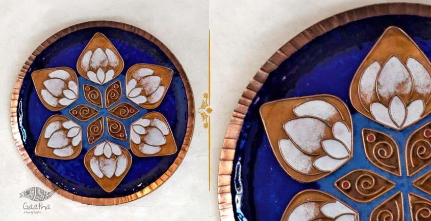 shop Copper Enamel Wall Plate Green Lotus Jali