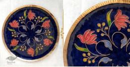 """Ekibeki ❋ Copper Enamel Wall Plate Blue Swirling Lotus (Options - S(8""""), M(10""""), L(12"""") ) ❋ 13"""