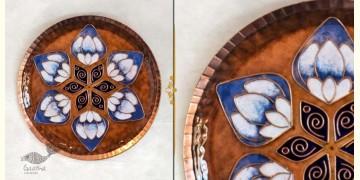 "Ekibeki ❋ Copper Enamel Wall Plate Brown Lotus Petal (Options - S(8""), M(10""), L(12"") ) ❋ 10"