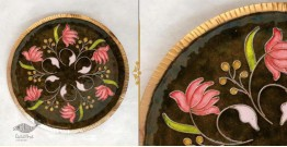 "Ekibeki ❋ Copper Enamel Wall Plate Brown Swirling Lotus (Options - S(8""), M(10""), L(12"") ) ❋ 12"