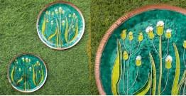 "Ekibeki ❋ Copper Enamel Wall Plate Greens -Emilia (Options - S(8""), M(10""), L(12"") ) ❋ 16"