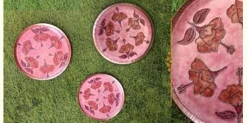 "Ekibeki ❋ Copper Enamel Wall Plate Pastels -Hibiscus (Options - S(8""), M(10""), L(12"") ) ❋ 15"