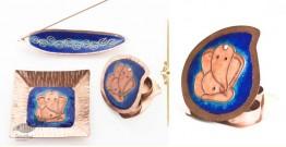 Ekibeki ❋ Copper Set of  Ganesha plate, Kumkum & Agarbatti Holder - Colour Blue ❋ 22