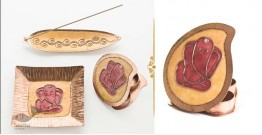 Ekibeki ❋ Copper Set of  Ganesha plate, Kumkum & Agarbatti Holder - Colour Yellow ❋ 23