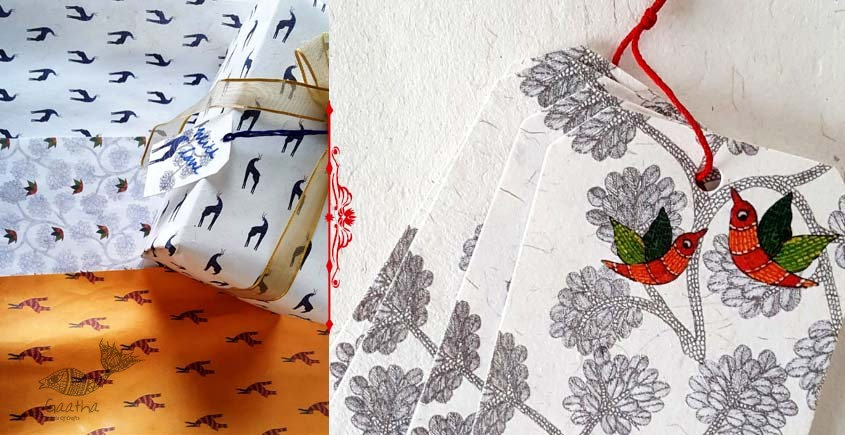 shop online Recycled Handmade Paper Gond Gift Paper Set of 9 & 9 Tags
