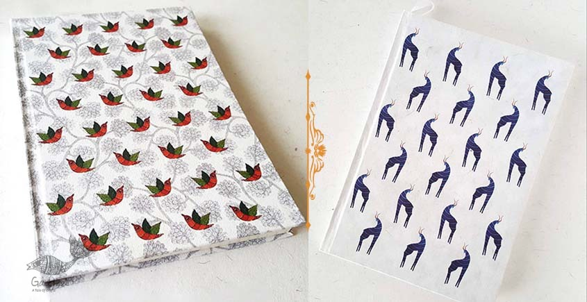 shop online Recycled Handmade Paper Gond Motif Hardbound Diary - Birds & Blue Deer ( Set of 2 )
